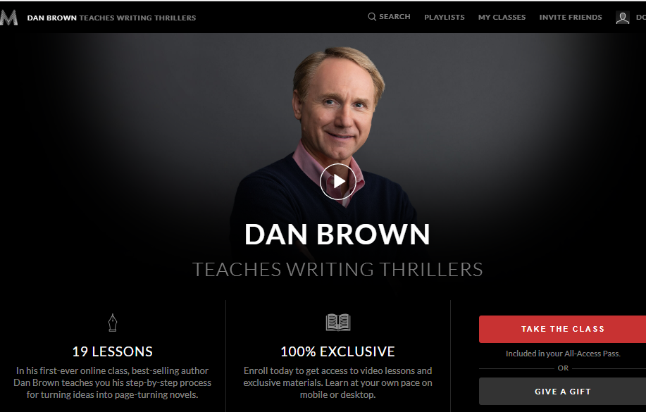 Dan Brown Masterclass Writing Thrillers