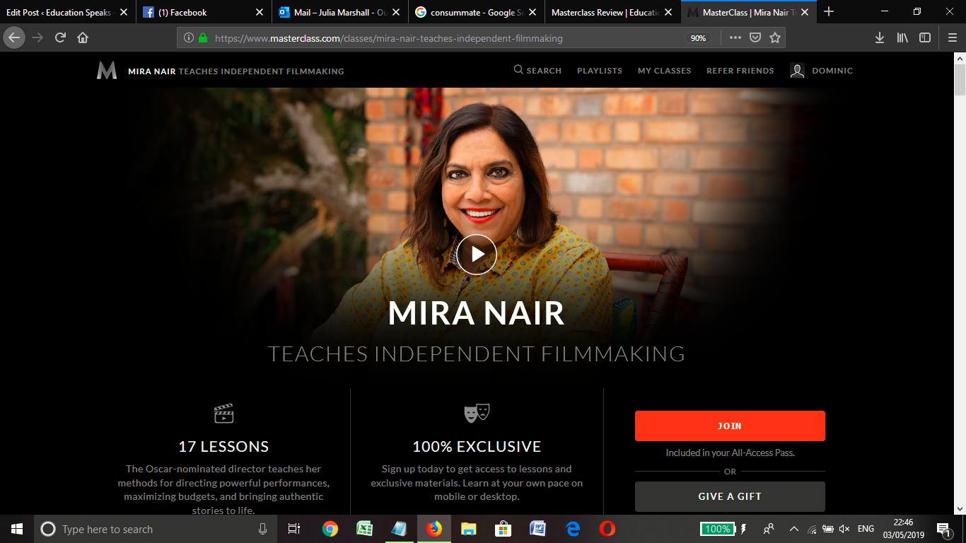 Mira Nair Masterclass Review